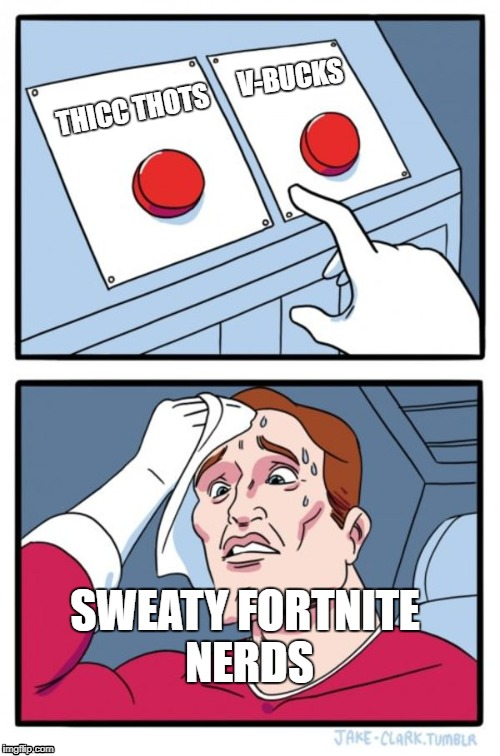 Choices, Choices | THICC THOTS V-BUCKS SWEATY FORTNITE NERDS | image tagged in memes,two buttons,fortnite,thots,thicc,v-bucks | made w/ Imgflip meme maker