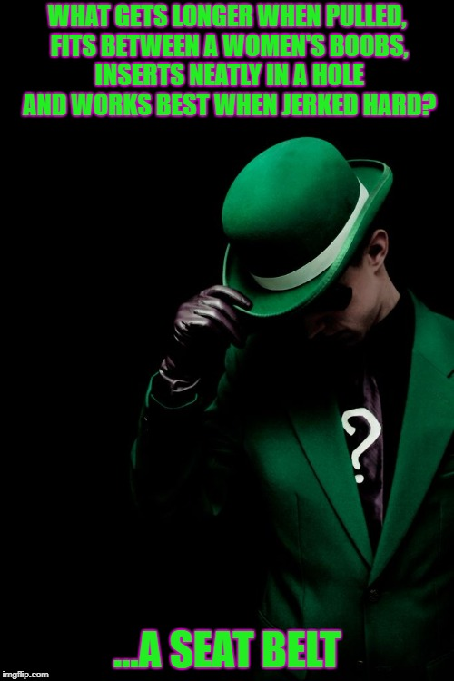 Riddle Me This? | WHAT GETS LONGER WHEN PULLED, FITS BETWEEN A WOMEN'S BOOBS, INSERTS NEATLY IN A HOLE AND WORKS BEST WHEN JERKED HARD? ...A SEAT BELT | image tagged in riddle me this | made w/ Imgflip meme maker