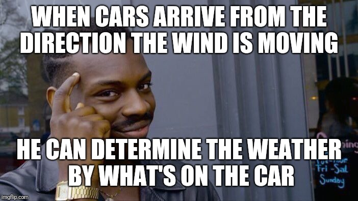 Roll Safe Think About It Meme | WHEN CARS ARRIVE FROM THE DIRECTION THE WIND IS MOVING HE CAN DETERMINE THE WEATHER BY WHAT'S ON THE CAR | image tagged in memes,roll safe think about it | made w/ Imgflip meme maker