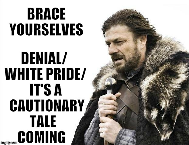 Brace Yourselves X is Coming Meme | BRACE YOURSELVES DENIAL/ WHITE PRIDE/ IT'S A  CAUTIONARY TALE     COMING | image tagged in memes,brace yourselves x is coming | made w/ Imgflip meme maker