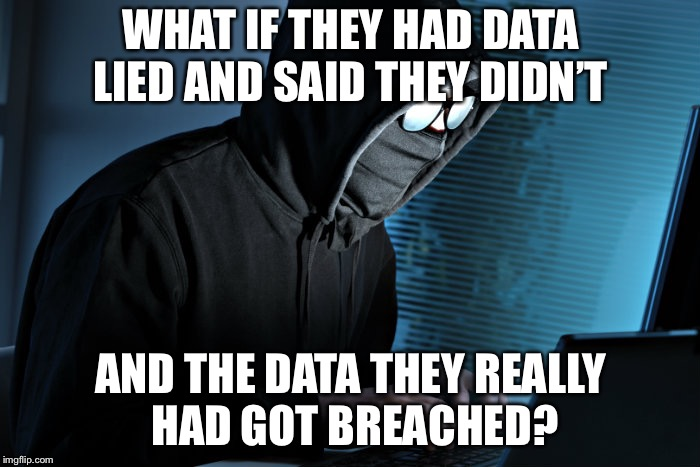 WHAT IF THEY HAD DATA LIED AND SAID THEY DIDN'T AND THE DATA THEY REALLY HAD GOT BREACHED? | made w/ Imgflip meme maker