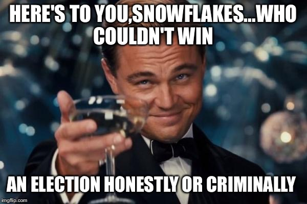 Just Couldn't Do It... | HERE'S TO YOU,SNOWFLAKES...WHO COULDN'T WIN AN ELECTION HONESTLY OR CRIMINALLY | image tagged in memes,leonardo dicaprio cheers | made w/ Imgflip meme maker