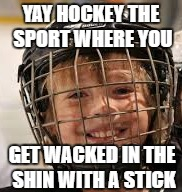 hockey fun | YAY HOCKEY THE SPORT WHERE YOU GET WACKED IN THE SHIN WITH A STICK | image tagged in hockey memes,sports memes,funny memes,kid memes,stick memes,memes | made w/ Imgflip meme maker