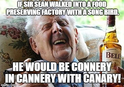 Cananney one think of how to add onto this? ;) |  IF SIR SEAN WALKED INTO A FOOD PRESERVING FACTORY WITH A SONG BIRD, HE WOULD BE CONNERY IN CANNERY WITH CANARY! | image tagged in old man drinking and smoking,memes,sean connery | made w/ Imgflip meme maker
