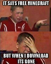 IT SAYS FREE MINECRAFT BUT WHEN I DOWNLOAD ITS GONE | image tagged in russian kid crying | made w/ Imgflip meme maker