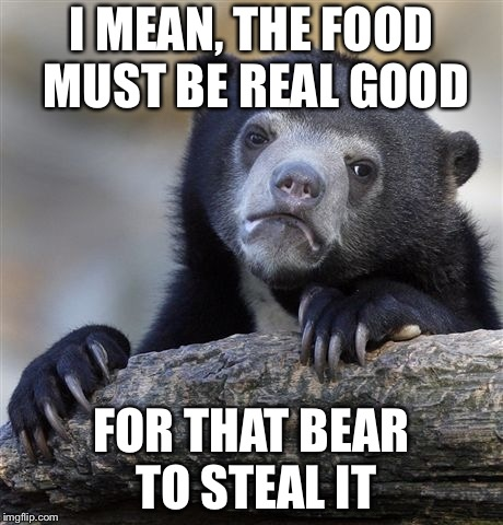 Confession Bear Meme | I MEAN, THE FOOD MUST BE REAL GOOD FOR THAT BEAR TO STEAL IT | image tagged in memes,confession bear | made w/ Imgflip meme maker