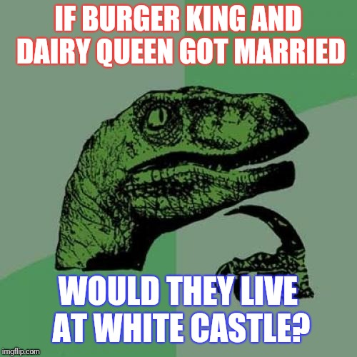 Philosoraptor Meme | IF BURGER KING AND DAIRY QUEEN GOT MARRIED WOULD THEY LIVE AT WHITE CASTLE? | image tagged in memes,philosoraptor | made w/ Imgflip meme maker