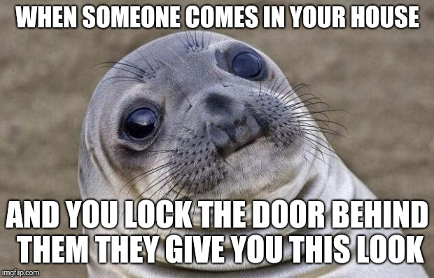 Awkward Moment Sealion Meme | WHEN SOMEONE COMES IN YOUR HOUSE AND YOU LOCK THE DOOR BEHIND THEM THEY GIVE YOU THIS LOOK | image tagged in memes,awkward moment sealion | made w/ Imgflip meme maker