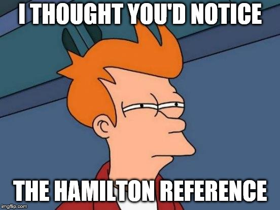 Futurama Fry Meme | I THOUGHT YOU'D NOTICE THE HAMILTON REFERENCE | image tagged in memes,futurama fry | made w/ Imgflip meme maker