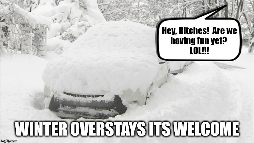 Winter Overstays Its Welcome | WINTER OVERSTAYS ITS WELCOME | image tagged in winter,snow | made w/ Imgflip meme maker