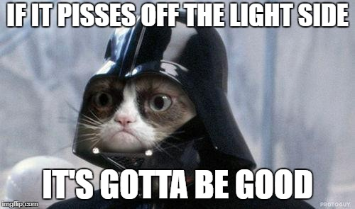 Grumpy Cat Star Wars Meme | IF IT PISSES OFF THE LIGHT SIDE IT'S GOTTA BE GOOD | image tagged in memes,grumpy cat star wars,grumpy cat,nsfw | made w/ Imgflip meme maker