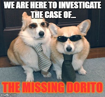 WE ARE HERE TO INVESTIGATE THE CASE OF... THE MISSING DORITO | image tagged in corgis in suits | made w/ Imgflip meme maker