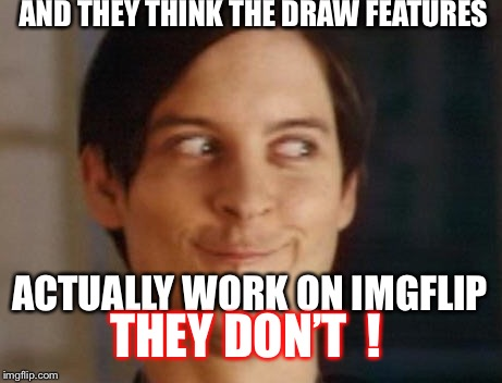 So why does it not work for real I for one would like to know . | AND THEY THINK THE DRAW FEATURES ACTUALLY WORK ON IMGFLIP THEY DON'T  ! | image tagged in memes,spiderman peter parker,imgflip,drawing | made w/ Imgflip meme maker