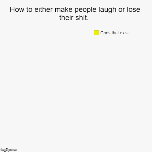 How to either make people laugh or lose their shit.  | Gods that exist | image tagged in funny,pie charts | made w/ Imgflip pie chart maker