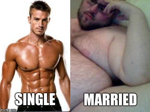 fat man | MARRIED SINGLE | image tagged in fat man | made w/ Imgflip meme maker