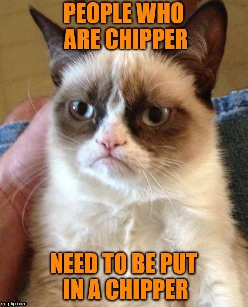 Grumpy Cat Meme | PEOPLE WHO ARE CHIPPER NEED TO BE PUT IN A CHIPPER | image tagged in memes,grumpy cat,chipper | made w/ Imgflip meme maker