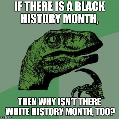 Philosaraptor | IF THERE IS A BLACK HISTORY MONTH, THEN WHY ISN'T THERE WHITE HISTORY MONTH, TOO? | image tagged in philosaraptor | made w/ Imgflip meme maker