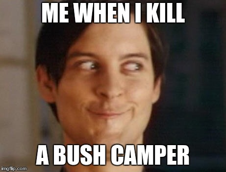 Spiderman Peter Parker Meme | ME WHEN I KILL A BUSH CAMPER | image tagged in memes,spiderman peter parker | made w/ Imgflip meme maker