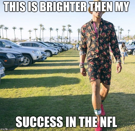 THIS IS BRIGHTER THEN MY SUCCESS IN THE NFL | image tagged in romper cam newton | made w/ Imgflip meme maker