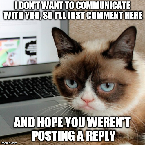 I DON'T WANT TO COMMUNICATE WITH YOU, SO I'LL JUST COMMENT HERE AND HOPE YOU WEREN'T POSTING A REPLY | made w/ Imgflip meme maker