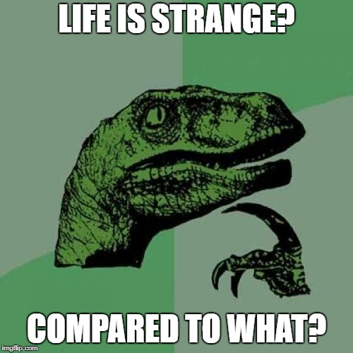 It's Hella Confusing |  LIFE IS STRANGE? COMPARED TO WHAT? | image tagged in memes,philosoraptor,videogames,life is strange | made w/ Imgflip meme maker