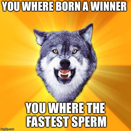 Courage Wolf Meme | YOU WHERE BORN A WINNER YOU WHERE THE FASTEST SPERM | image tagged in memes,courage wolf | made w/ Imgflip meme maker