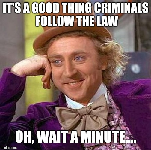 Creepy Condescending Wonka Meme | IT'S A GOOD THING CRIMINALS FOLLOW THE LAW OH, WAIT A MINUTE.... | image tagged in memes,creepy condescending wonka | made w/ Imgflip meme maker