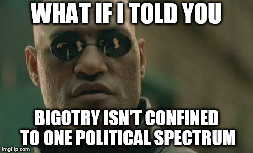 Matrix Morpheus Meme | WHAT IF I TOLD YOU BIGOTRY ISN'T CONFINED TO ONE POLITICAL SPECTRUM | image tagged in memes,matrix morpheus,bigotry,politics,political spectrum,political | made w/ Imgflip meme maker
