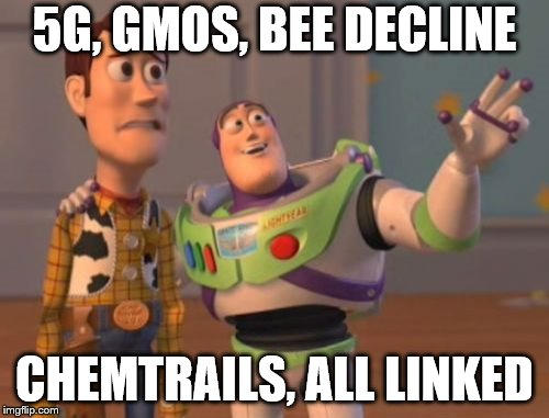 X, X Everywhere Meme | 5G, GMOS, BEE DECLINE CHEMTRAILS, ALL LINKED | image tagged in memes,x,x everywhere,x x everywhere | made w/ Imgflip meme maker