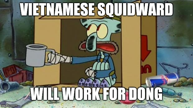 squidward poor | VIETNAMESE SQUIDWARD WILL WORK FOR DONG | image tagged in squidward poor | made w/ Imgflip meme maker