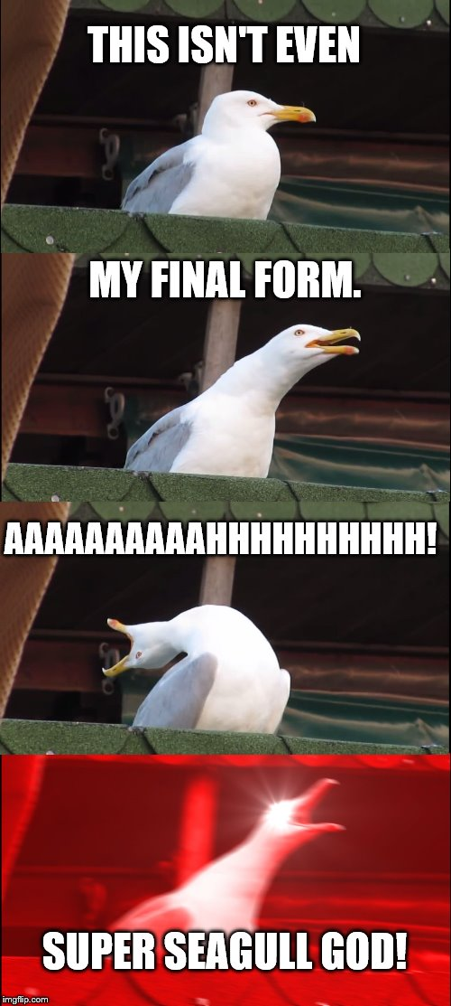 Inhaling Seagull Meme | THIS ISN'T EVEN MY FINAL FORM. AAAAAAAAAAHHHHHHHHHH! SUPER SEAGULL GOD! | image tagged in memes,inhaling seagull | made w/ Imgflip meme maker