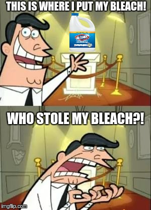 This is where I would put my thropy if I had any | THIS IS WHERE I PUT MY BLEACH! WHO STOLE MY BLEACH?! | image tagged in this is where i would put my thropy if i had any | made w/ Imgflip meme maker