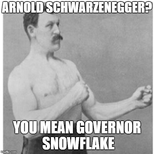 Overly Manly Man Meme | ARNOLD SCHWARZENEGGER? YOU MEAN GOVERNOR SNOWFLAKE | image tagged in memes,overly manly man | made w/ Imgflip meme maker