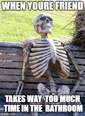 Waiting Skeleton Meme | WHEN YOURE FRIEND TAKES WAY  TOO MUCH TIME IN THE  BATHROOM | image tagged in memes,waiting skeleton | made w/ Imgflip meme maker
