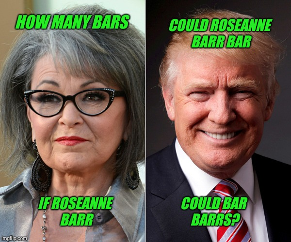 Trumping Barr | HOW MANY BARS COULD ROSEANNE BARR BAR IF ROSEANNE BARR COULD BAR BARRS? | image tagged in roseanne,bar,trump | made w/ Imgflip meme maker