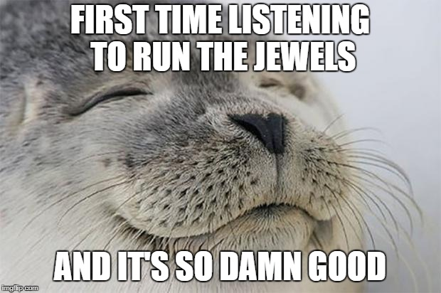 Satisfied Seal Meme | FIRST TIME LISTENING TO RUN THE JEWELS AND IT'S SO DAMN GOOD | image tagged in memes,satisfied seal | made w/ Imgflip meme maker