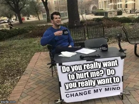 Does anyone remember this song? | Do you really want to hurt me?  Do you really want to | image tagged in change my mind | made w/ Imgflip meme maker