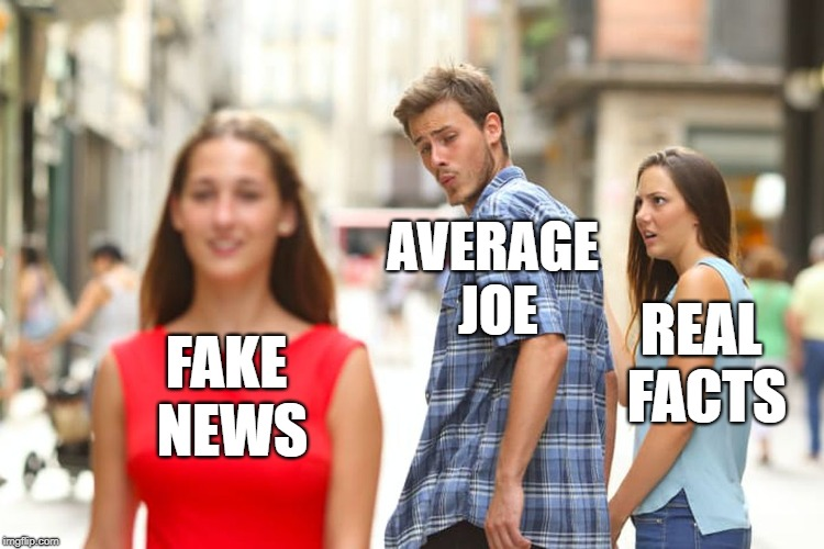 Distracted Boyfriend - Facts vs. Fiction | FAKE NEWS AVERAGE JOE REAL FACTS | image tagged in memes,distracted boyfriend,fake news,alternative facts,facts,bullshit | made w/ Imgflip meme maker