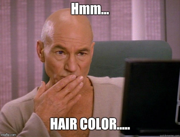Online dating in the 24th century. | Hmm... HAIR COLOR..... | image tagged in captain picard | made w/ Imgflip meme maker