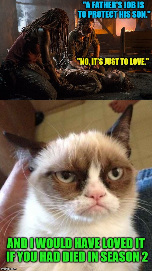 "The Walking Dead - Grumpy Cat's wish finally fulfilled | ""A FATHER'S JOB IS TO PROTECT HIS SON."" AND I WOULD HAVE LOVED IT IF YOU HAD DIED IN SEASON 2 ""NO, IT'S JUST TO LOVE."" 