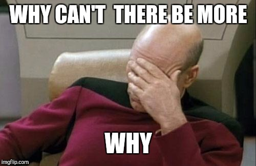 Captain Picard Facepalm Meme | WHY CAN'T  THERE BE MORE WHY | image tagged in memes,captain picard facepalm | made w/ Imgflip meme maker