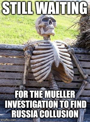 Waiting Skeleton Meme | STILL WAITING FOR THE MUELLER INVESTIGATION TO FIND RUSSIA COLLUSION | image tagged in memes,waiting skeleton | made w/ Imgflip meme maker