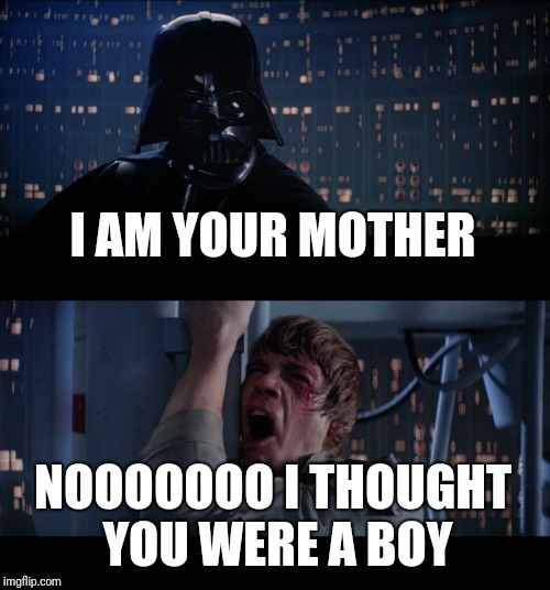 Star Wars No Meme | I AM YOUR MOTHER NOOOOOOO I THOUGHT YOU WERE A BOY | image tagged in memes,star wars no | made w/ Imgflip meme maker