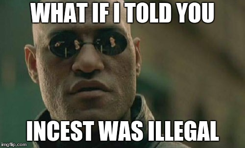 Matrix Morpheus Meme | WHAT IF I TOLD YOU INCEST WAS ILLEGAL | image tagged in memes,matrix morpheus | made w/ Imgflip meme maker