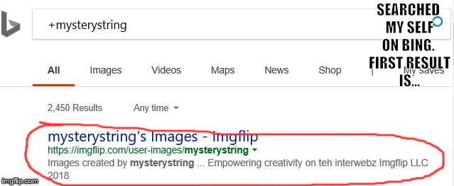 Well then... | SEARCHED MY SELF ON BING. FIRST RESULT IS... | image tagged in mysterystring,me,myself | made w/ Imgflip meme maker