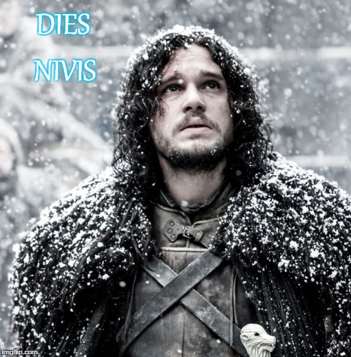DIES NIVIS | image tagged in snow day jon snow latin | made w/ Imgflip meme maker