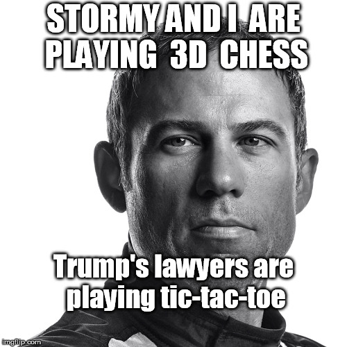 STORMY AND I  ARE PLAYING  3D  CHESS Trump's lawyers are playing tic-tac-toe | image tagged in stormy daniels,trump,michael cohen,trump lawyers,michael avenatti | made w/ Imgflip meme maker