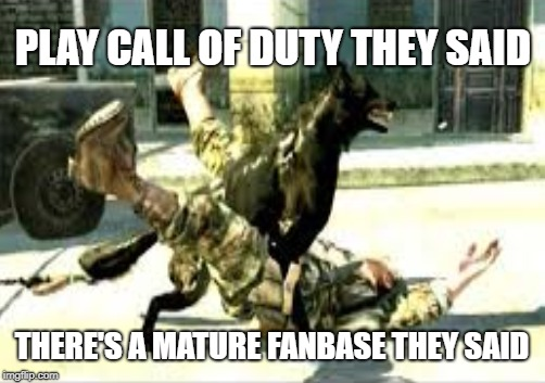 Call of Duty Week (March 20th-27th) A NikoBellic Event | PLAY CALL OF DUTY THEY SAID THERE'S A MATURE FANBASE THEY SAID | image tagged in cod,funny,memes,call of duty week,nsfw | made w/ Imgflip meme maker