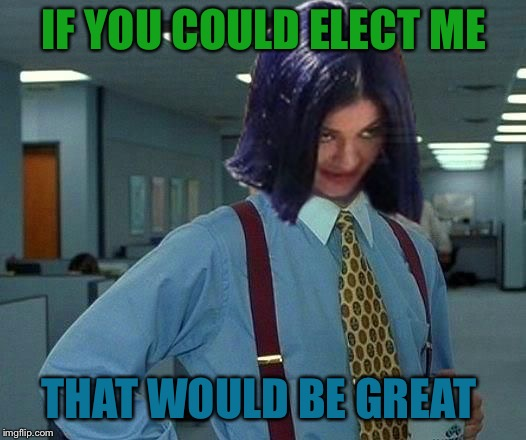Kylie Would Be Great | IF YOU COULD ELECT ME THAT WOULD BE GREAT | image tagged in kylie would be great | made w/ Imgflip meme maker