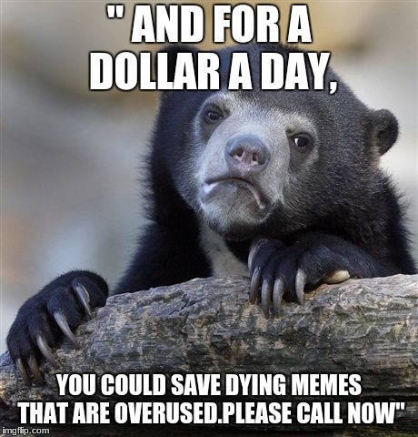 "Confession Bear Meme | "" AND FOR A DOLLAR A DAY, YOU COULD SAVE DYING MEMES THAT ARE OVERUSED.PLEASE CALL N0W"" 